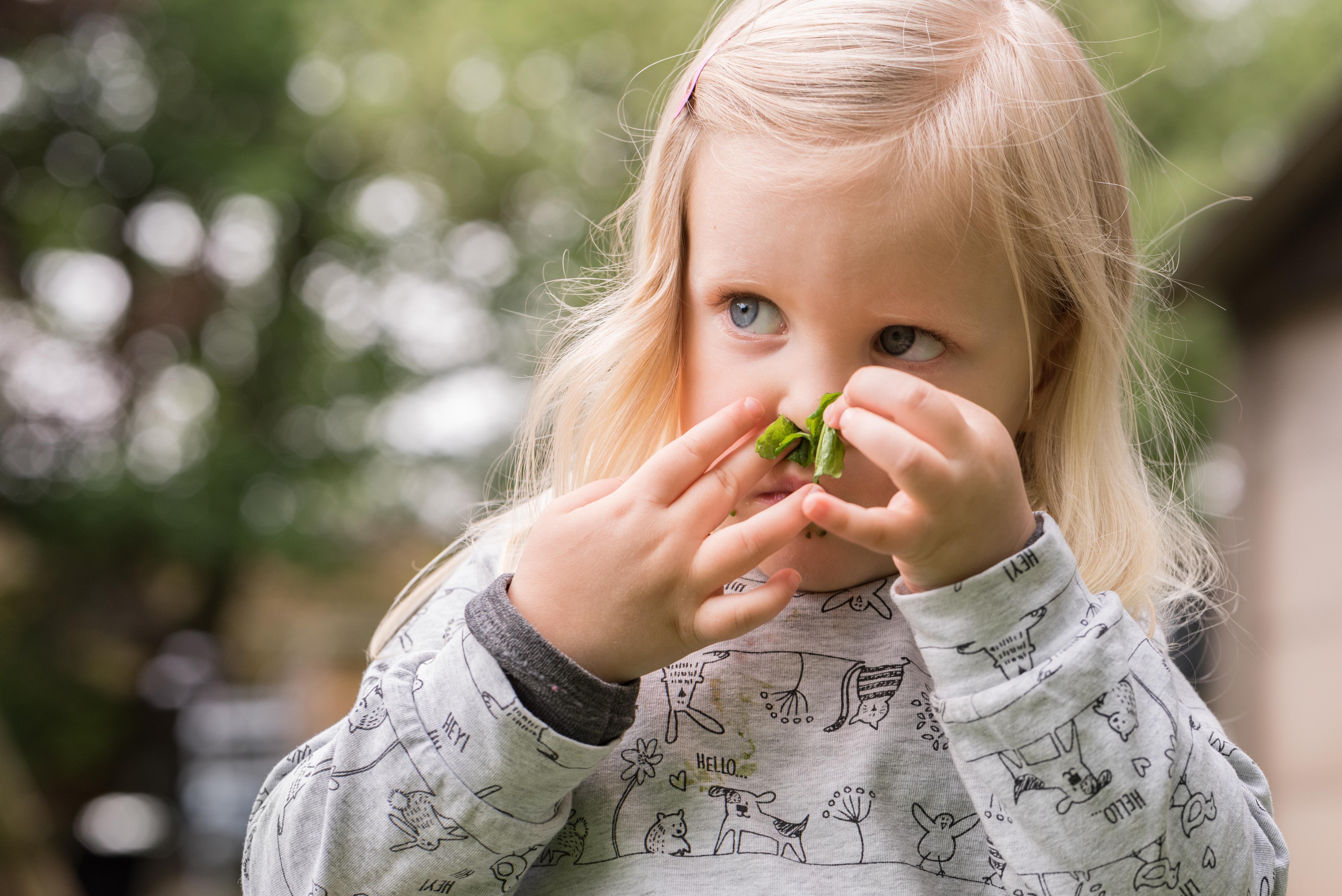 Meisje ruikt aan blaadje Jasja de Wit Fotografie
